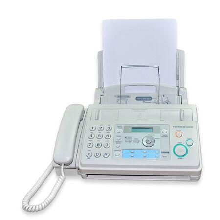 fax machine on white background