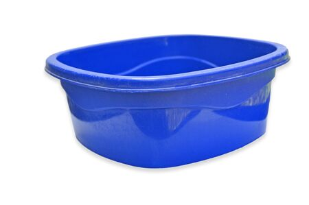 blue color Plastic bowl isolated on white background photo