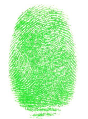 green fingerprint on white background