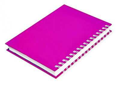 ruled paper: pink notebook spiral bound on white
