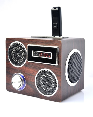 fash: Minispeaker - FM receiver. Audio box for mobile phones and laptops with card-reader, amplifier and MP3 player