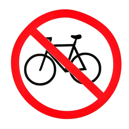 Sign indicating prohibition of passing bicycle rules  photo