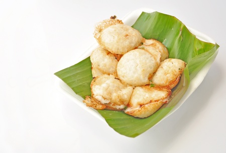 sweetmeat: Kind of Thai sweetmeat Coconut milk mix with powder fried dessert.