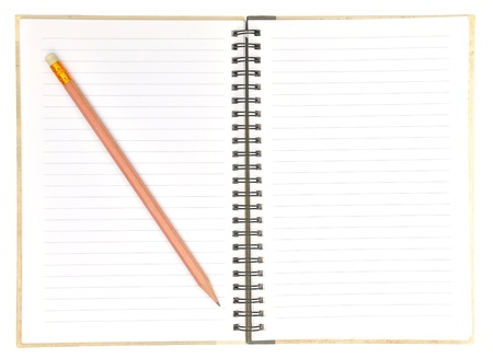 blank page of note book and pencil on white isolate,good used for web or background photo