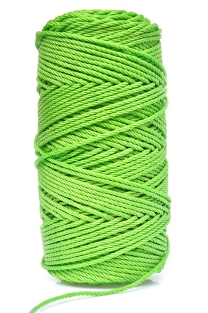 hank: hank of green rope isloated on pure white
