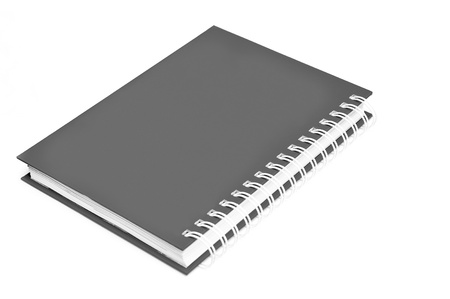Spiral gray notebook isolated on white background  photo