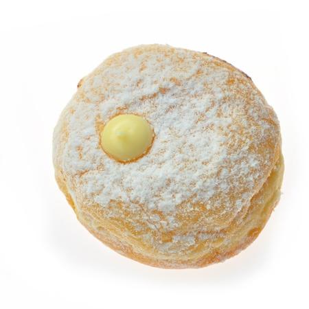Donut mit Marmelade auf weißem Standard-Bild