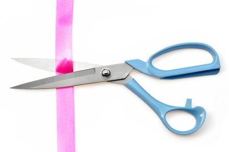 ceremonial: Cutting pink ribbon isolated on white