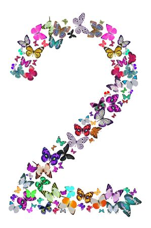 composed: Number two composed by butterflies on white background  See the whole series