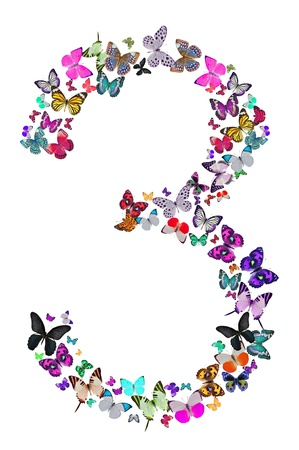 number three: Number three composed by butterflies on white background  See the whole series