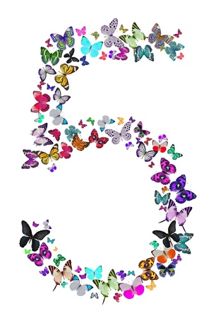 Number five composed by butterflies on white background  See the whole series Stock Photo - 17552172