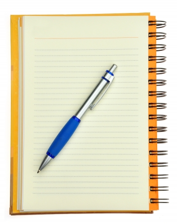 notebook and pen on a white background Stock Photo - 18120664