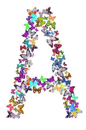 Butterfly font in white  Letter A Foto de archivo