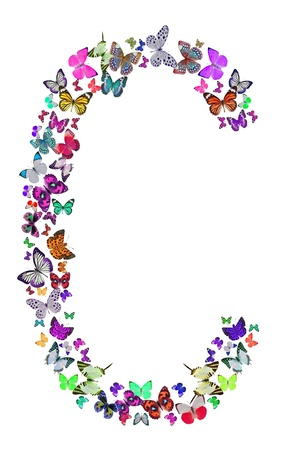 Butterfly font in white  Letter C photo