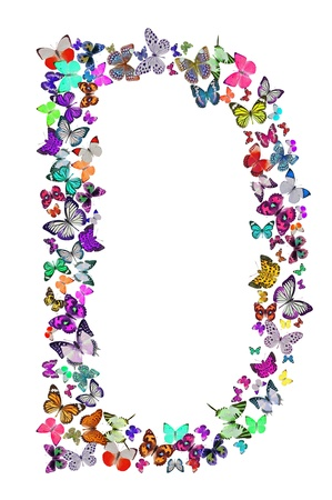 Butterfly font in white  Letter D photo