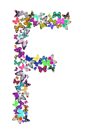 Butterfly font in white  Letter F photo