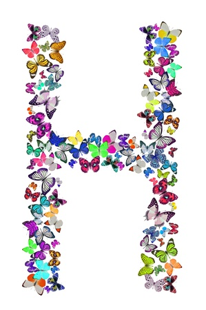 Butterfly font in white  Letter H photo