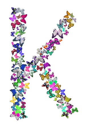 Butterfly font in white  Letter K photo