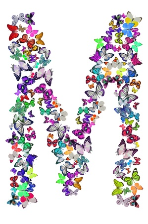 Butterfly font in white  Letter M photo