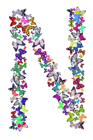 many colored: Butterfly font in white  Letter N Stock Photo