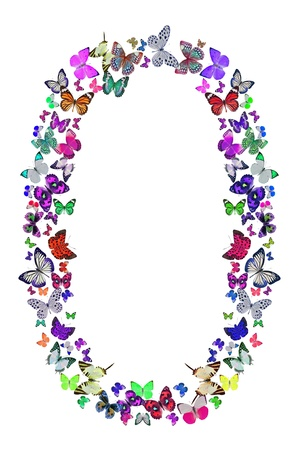 Butterfly font in white  Letter O photo