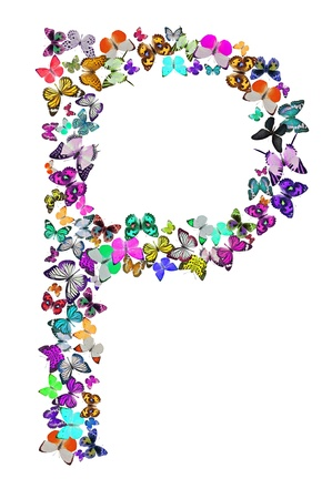 Butterfly font in white  Letter P photo