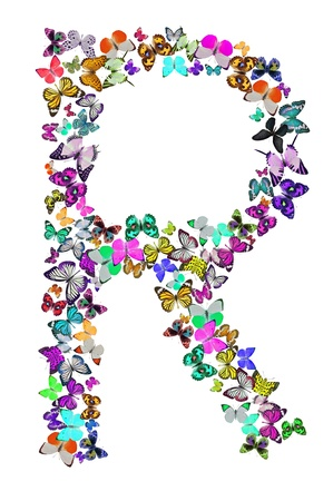 letter r: Butterfly font in white  Letter R