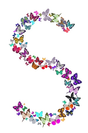 blue spotted: Butterfly font in white  Letter S