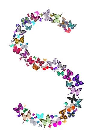 letra s: Mariposa de fuente en blanco Letra S Foto de archivo