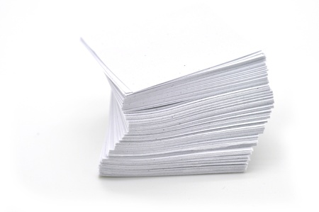 stack of white papers isolated on white background  photo