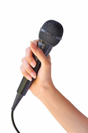 Woman hand with microphone isolated on white background  photo