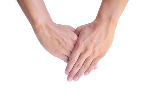 men hands together symbolizing prayer Stock Photo - 18616572