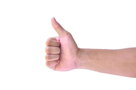 confirm confirmation: Man hand with thumb up isolated on white background