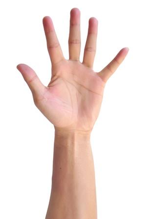 dedo �ndice: La mano del hombre signo aislado sobre fondo blanco