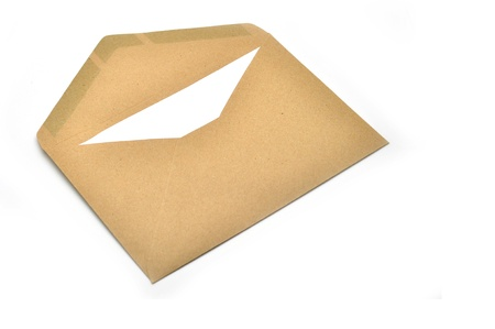 Opened brown envelope with paper inside isolated on white background photo