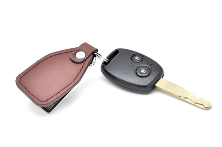 New car key on white background photo