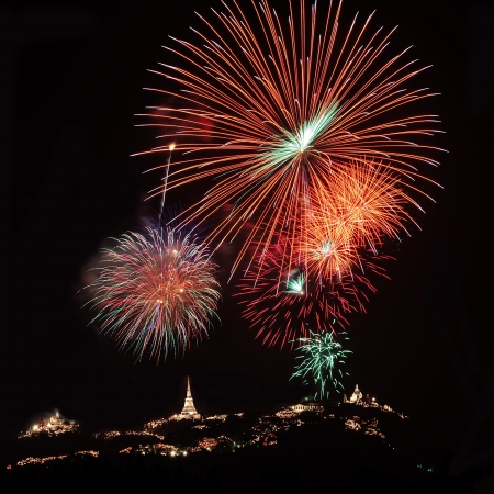 Fireworks on Phra Nakhon Khiri festival in Thailand photo