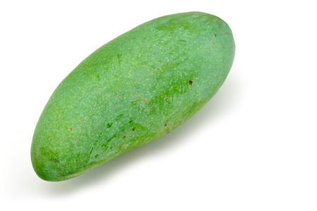the green background: Green mango isolated on a white background