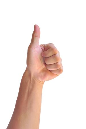 Man hand with thumb up isolated on white background Stock Photo - 19429355