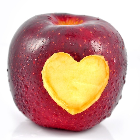 Red apple with a heart shaped photo
