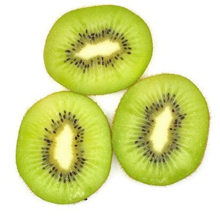 freshest: Slices of kiwi fruit on white background Stock Photo