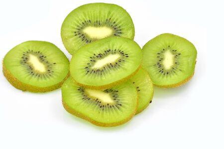 freshest: Slices of kiwi fruit on white background