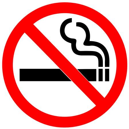 prohibido fumar: Señal de no fumar en el fondo blanco