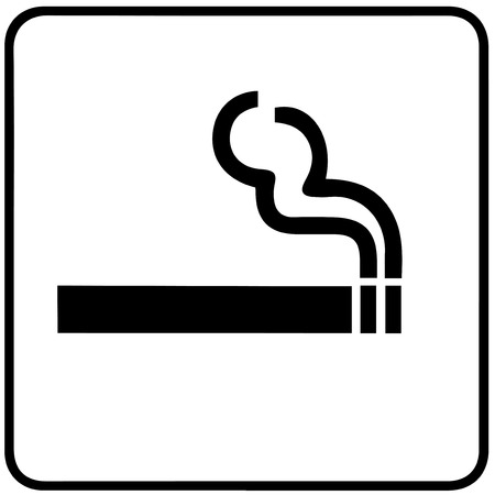 crossed cigarette: smoking sign on white background