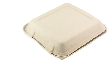 reciclar: Caja de comida fibra vegetal aislado en fondo blanco