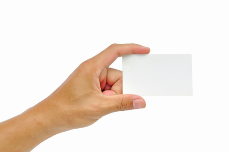 Close-up of an empty business card in a man hand isolated on white Banque d'images