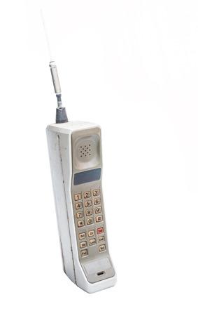 vintage mobiele telefoon Geïsoleerd op witte achtergrond Stockfoto