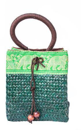 white back ground: green bamboo bag on white back ground isolated Stock Photo