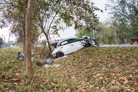 flipped: Accident car crash with tree on the road
