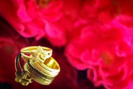roses and rings (Love concept) photo